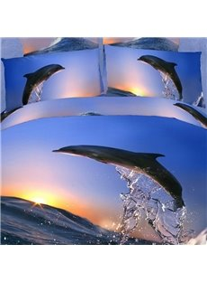 3D Jumping Dolphin with Sunset Printed Cotton 4-Piece Bedding Sets/Duvet Covers