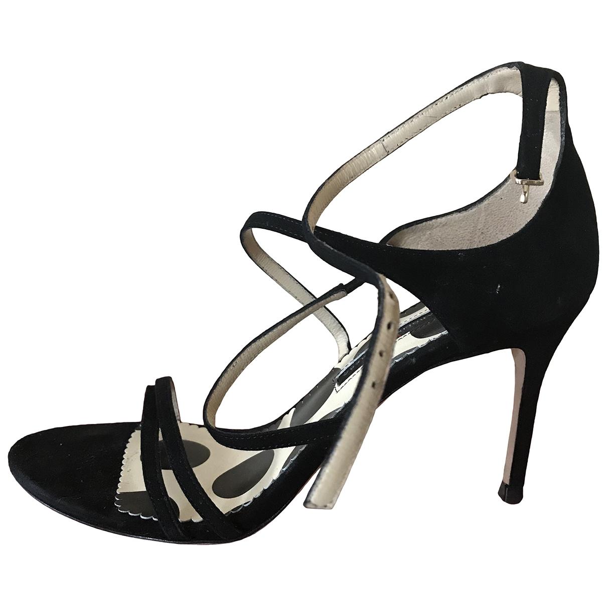 Carolina Herrera - Sandales   pour femme en suede - noir