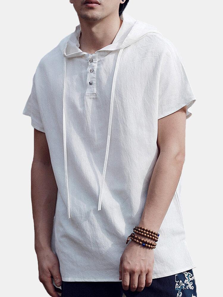 Mens 100% Cotton Soild Casual Everyday Hooded Short Sleeve T-shirt