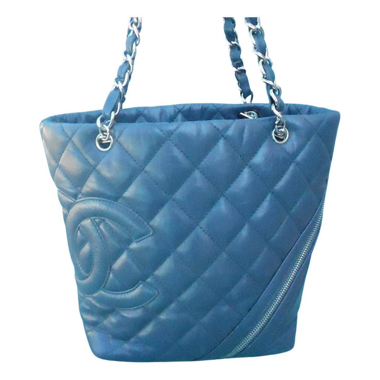 Chanel Cambon Blue Leather handbag for Women N