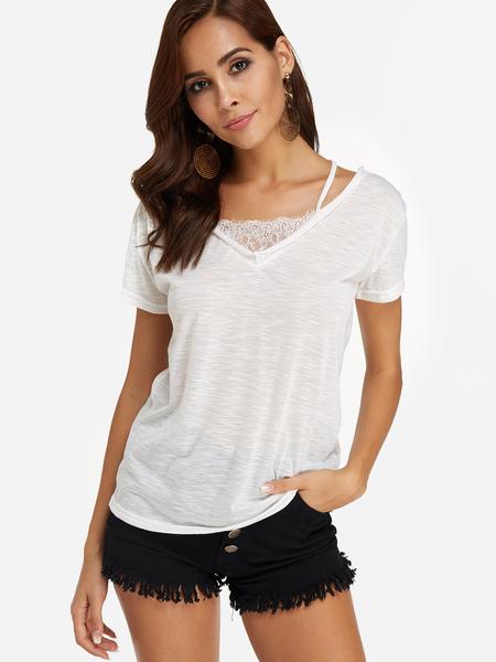 Yoins White Lace Insert Short Sleeves T-shirt