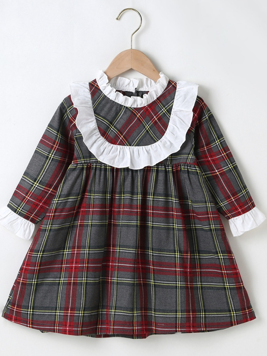 LW lovely Sweet Grid Print Red Girl Knee Length Dress