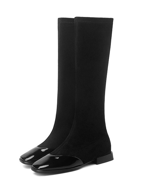 Milanoo Woman Knee-High Boots PU Leather Apricot Square Toe Flat Flat Knee Length Boots