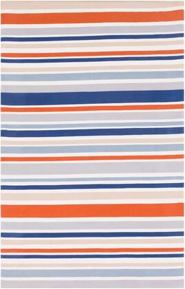 MTM1013-576 5 x 7 6 Rug  in Burnt Orange and Cream and Medium Gray and Dark Blue and
