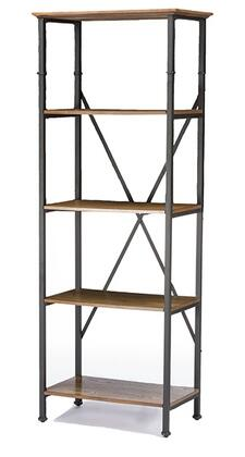 Baxton Studio YLX-0008-BC Lancashire Bookcase with Bronze Rustic Iron Metal Frame  Distressed Wood Top and Shelf with Ash Veneer in