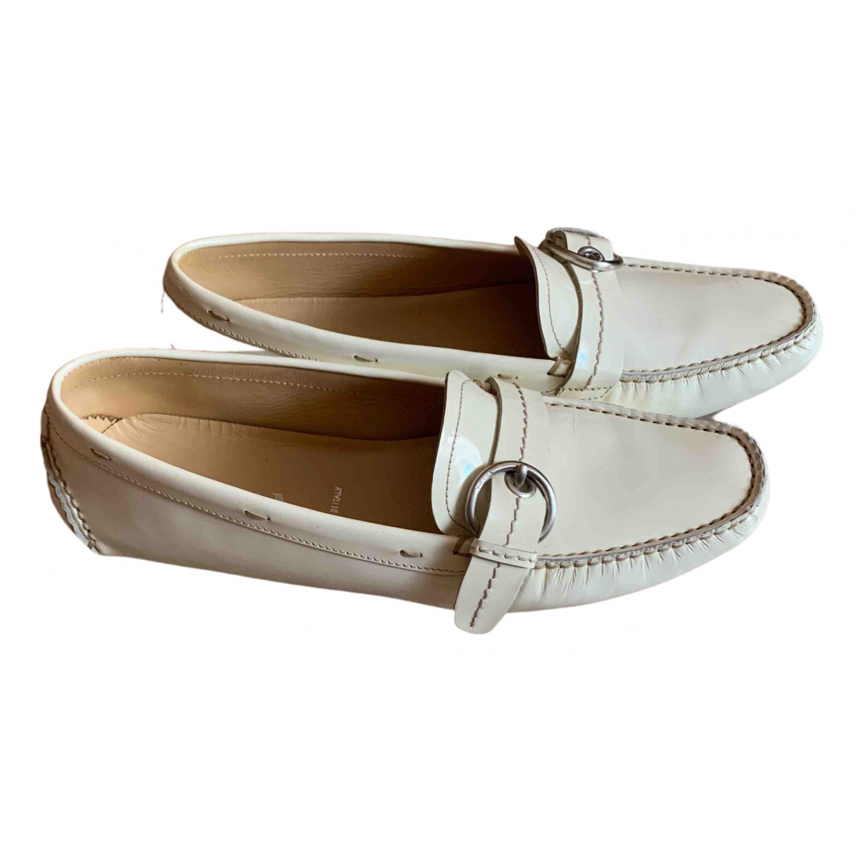 Prada \N White Patent leather Flats for Women 39 IT