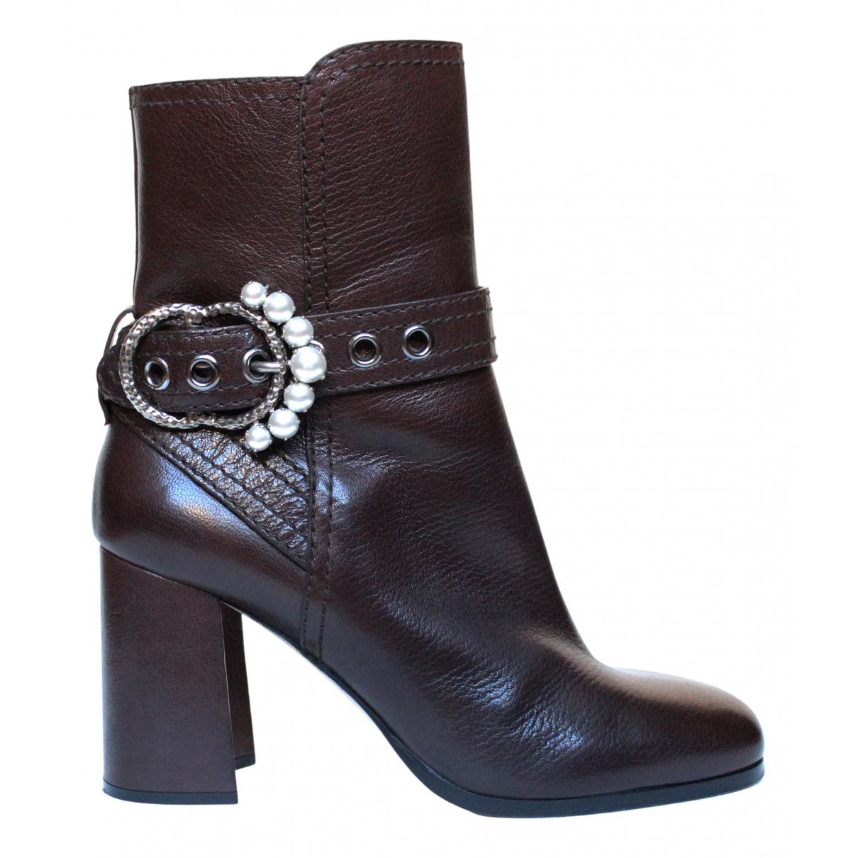 Miu Miu - Boots   pour femme en cuir - marron