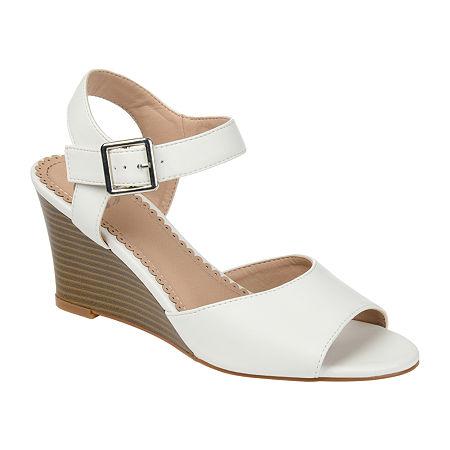 Journee Collection Womens Ricci Pumps Wedge Heel, 10 Medium, White