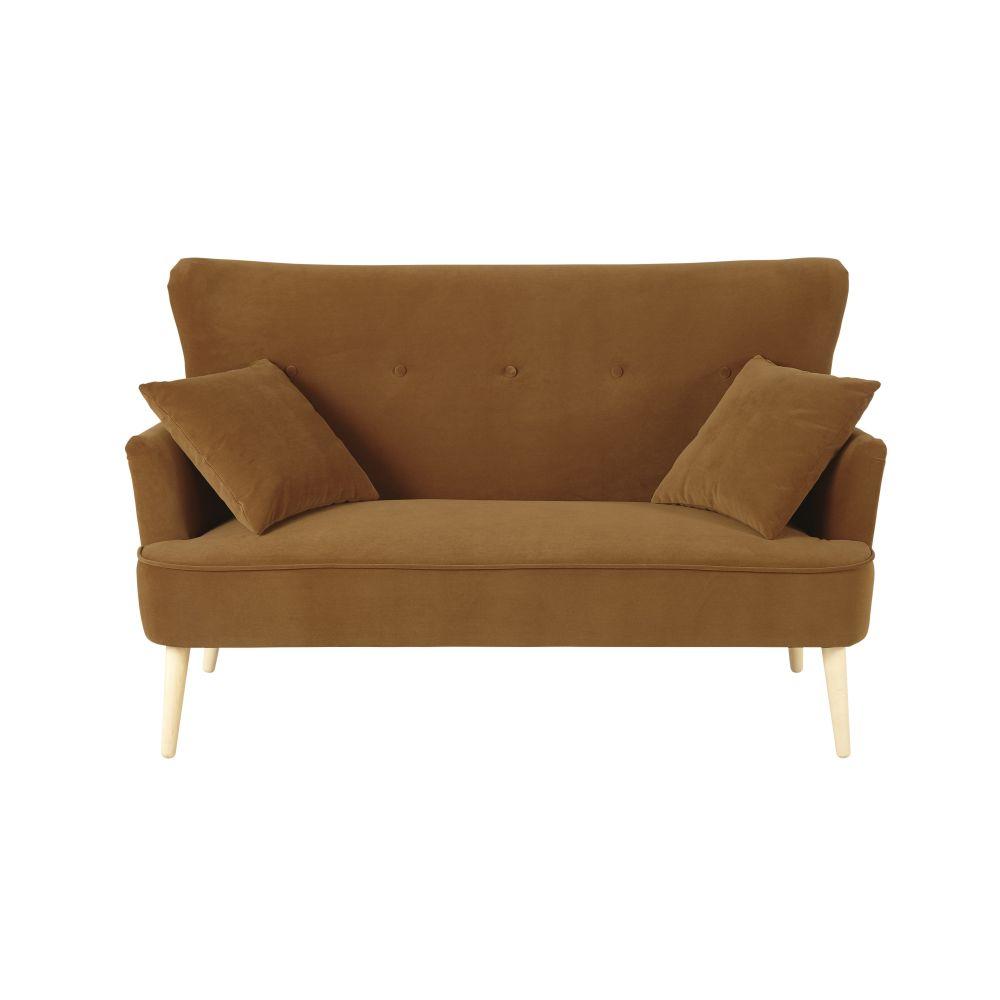 2-Sitzer-Sofa mit ockergelben Samtbezug Leon