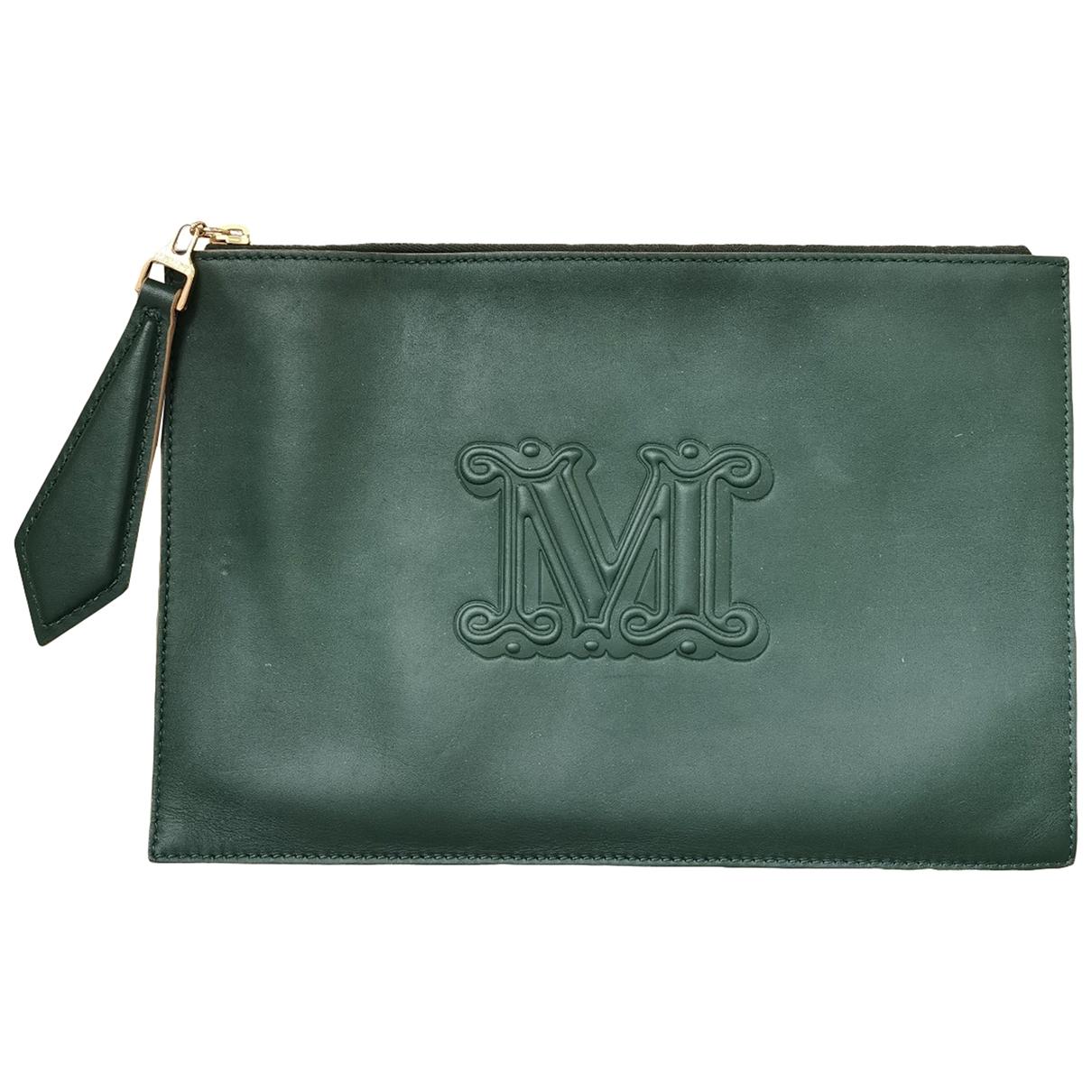 Max Mara - Pochette   pour femme en cuir - vert