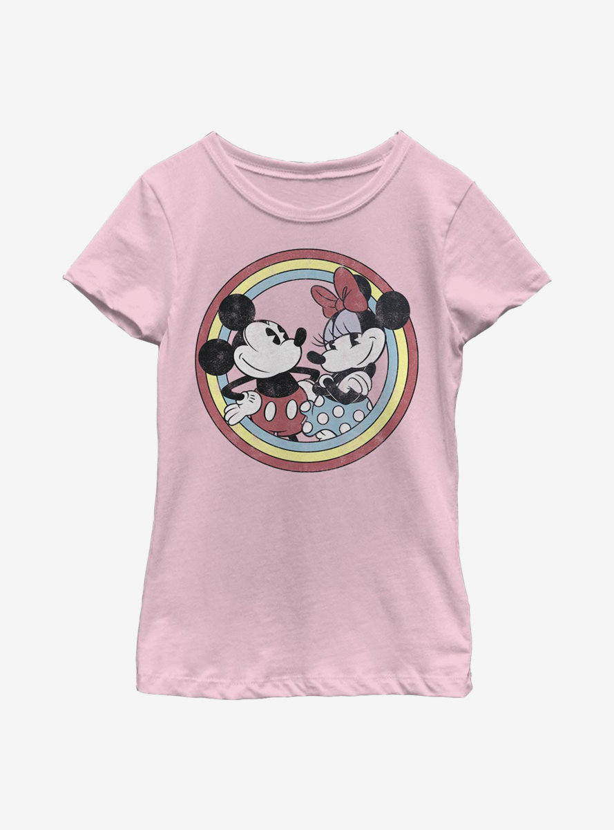 Disney Mickey Mouse Minnie Circle Youth Girls T-Shirt