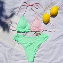 Two Tone Ruffle Trim Triangle Halter Bikini Swimsuit