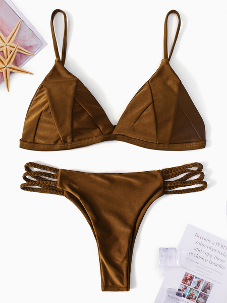Yoins Brown Basic V-neck String Bikini Set