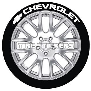 Tire Stickers CHVRLT-1718-125-4-B Permanent Raised Rubber Lettering 'Chevrolet' Logo - 4 of each - 17