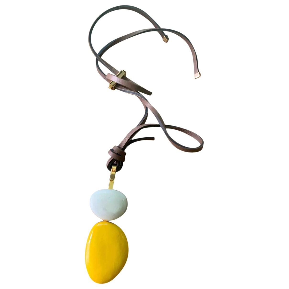 Marni - Collier   pour femme en cuir - jaune