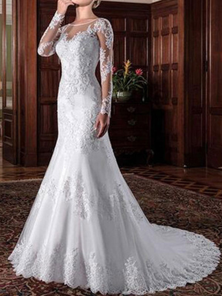 Milanoo vintage wedding bridal dress 2020 sheath illusion neck long sleeve lace applique wedding dresses with train