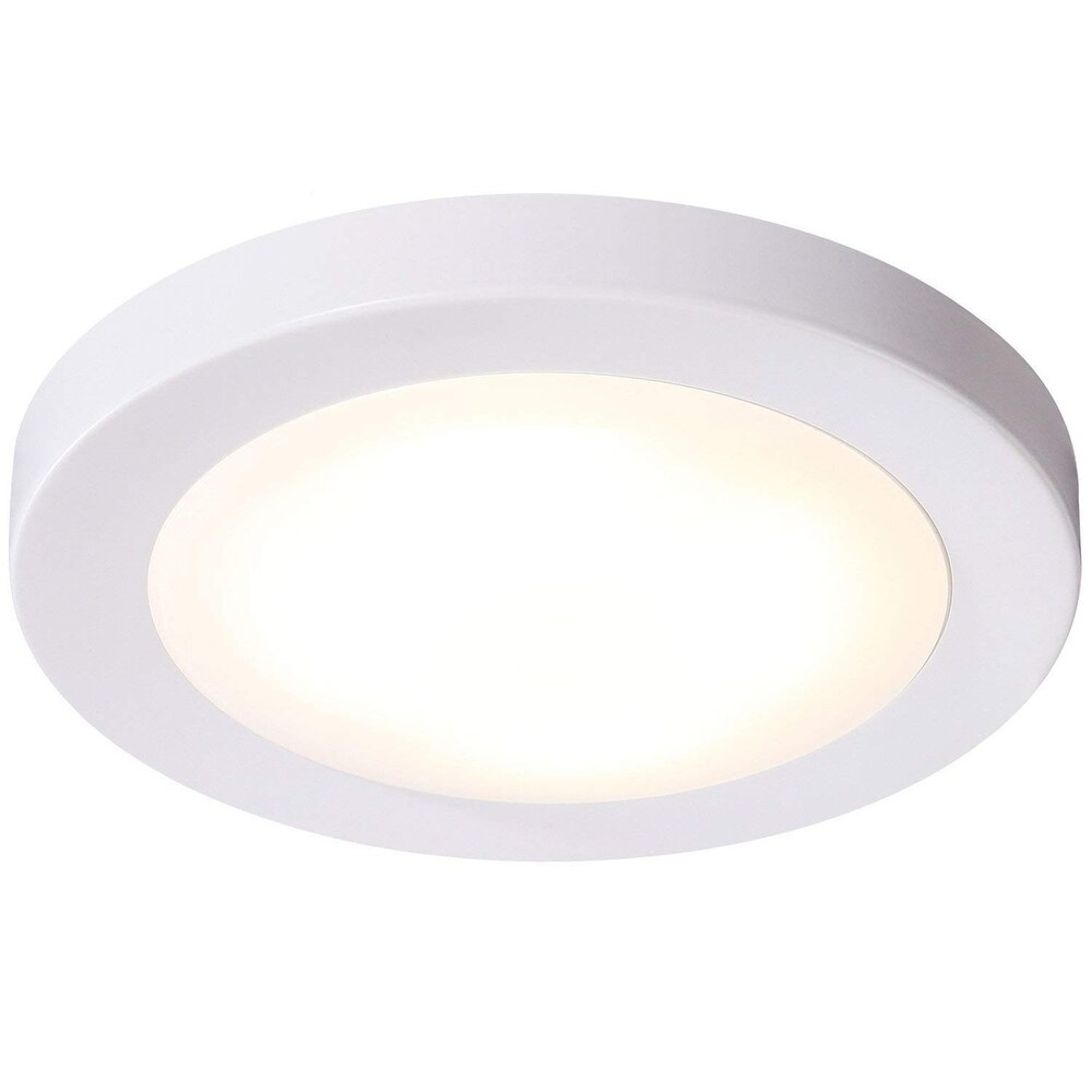 Goodlite 4 Inch LED Surface Mount Disk Light, Round, 12W 800 Lumens, Dimmble Wet Location, (3 Pack) (cool white 4100k)