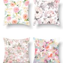 1pc Floral Print Cushion Cover Without Filler