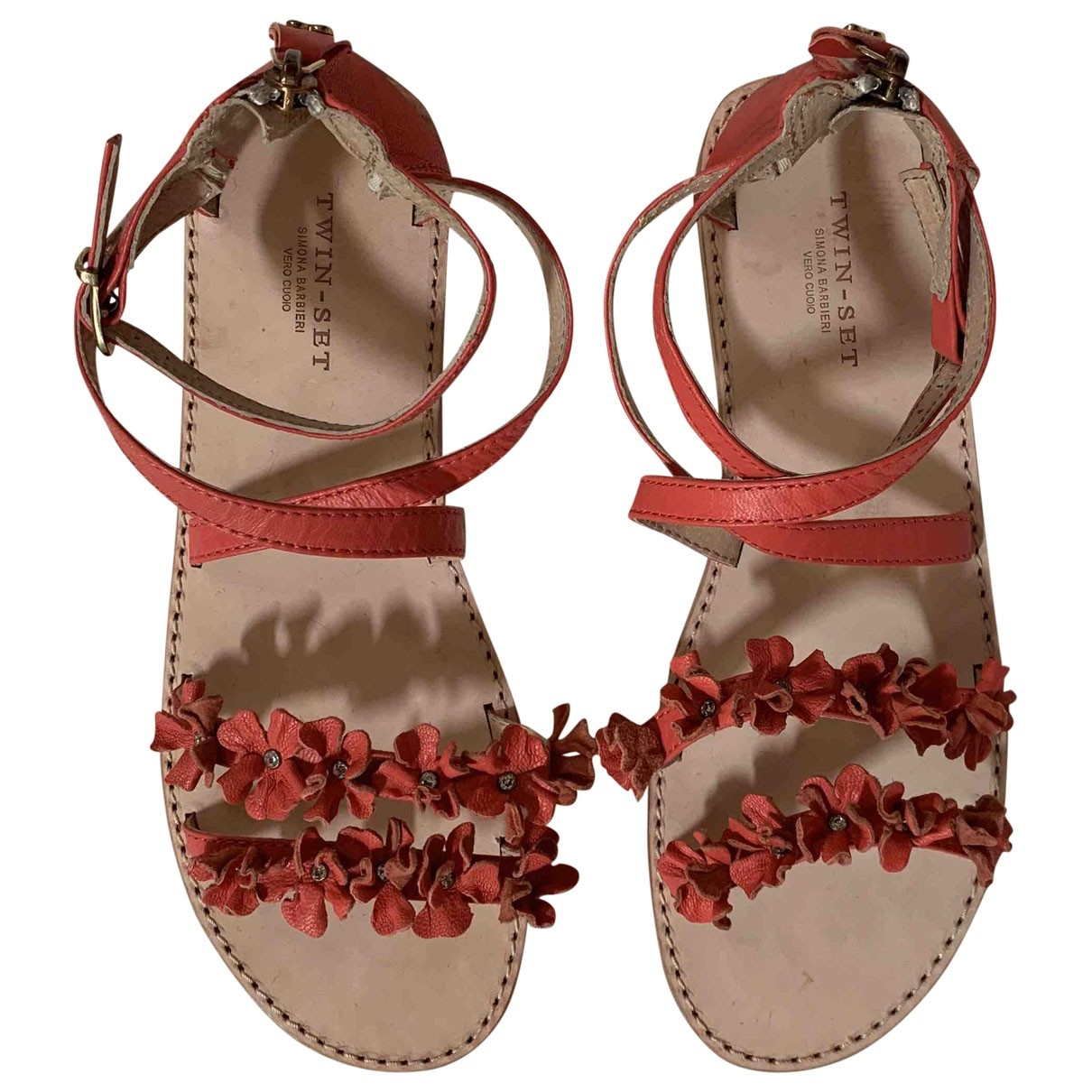 Twin Set \N Pink Leather Sandals for Women 39 EU