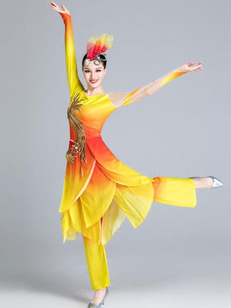 Milanoo Disfraz Halloween Disfraces chinos amarillos Traje de baile asiatico Traje de 2 piezas Disfraces de carnaval Halloween