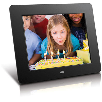 Aluratek 8'' True Color LCD Screen Black Digital Photo Frame