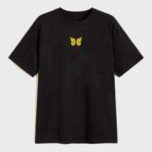 Men Butterfly Print Short Sleeve Tee