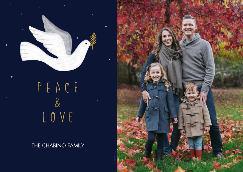 Christmas Photo Cards Flat Matte Photo Paper Cards with Envelopes, 5x7, Card & Stationery -Peace & Love Dove Photo Card - Large by Hallmark