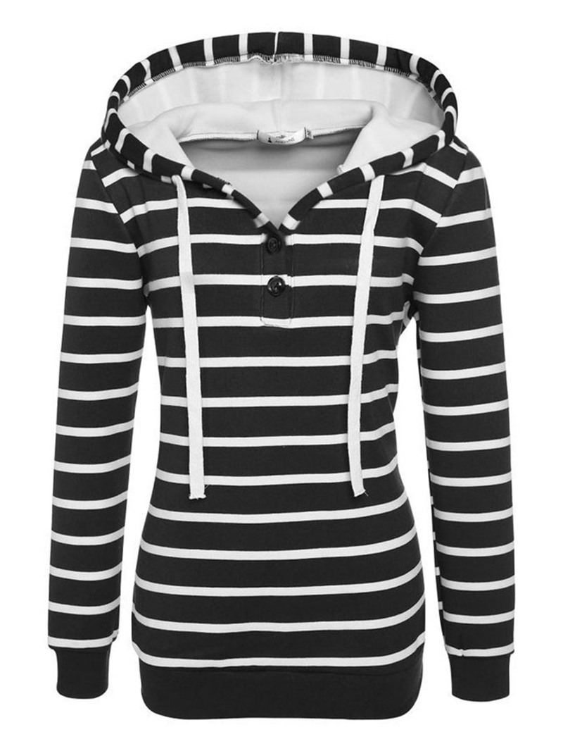 Ericdress Button Stripe Regular Hooded Thin Hoodie