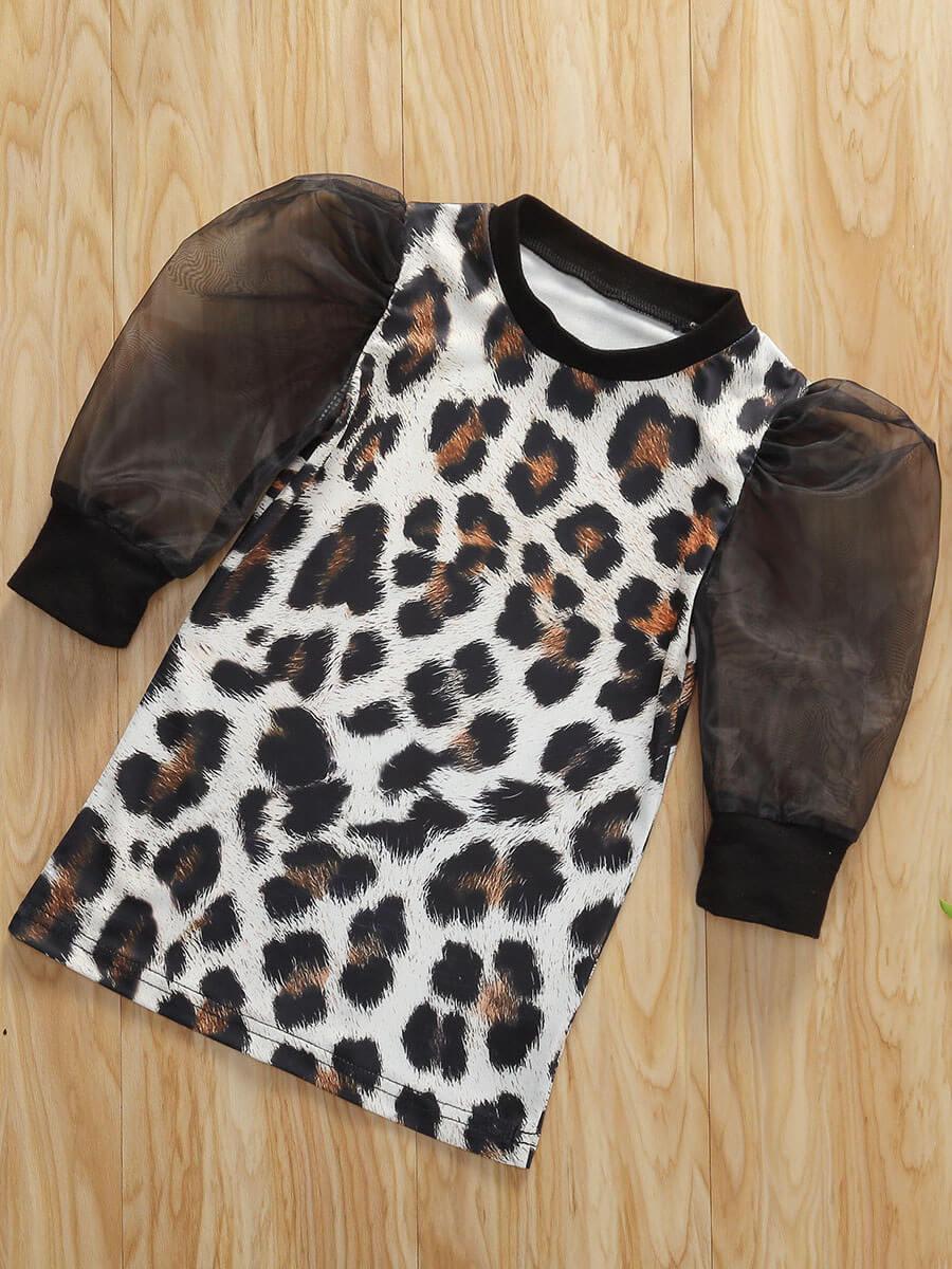 LW Lovely Trendy O Neck Leopard Print Black Girl Knee Length Dress
