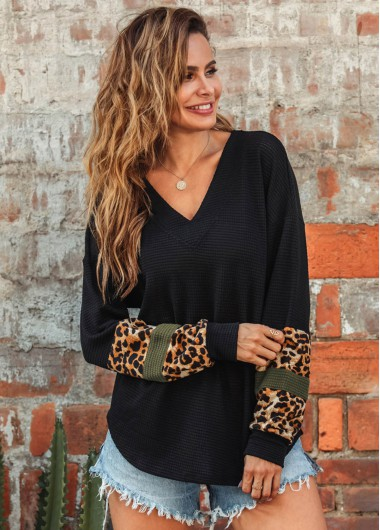 Long Sleeve Leopard Print V Neck T Shirt - XL