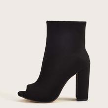 Botas calcetines con tacon grueso de punta abierta