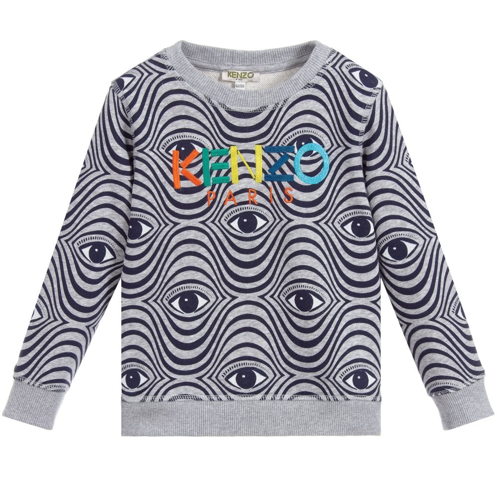 Kenzo Kids Eye Print Sweatshirt Colour: GREY, Size: 10 YEARS