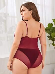 Plus Contrast Lace Mesh Harness Teddy Bodysuit