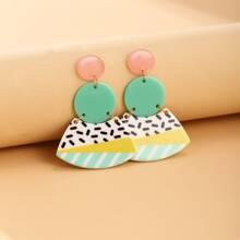 Color Block Geometric Drop Earrings