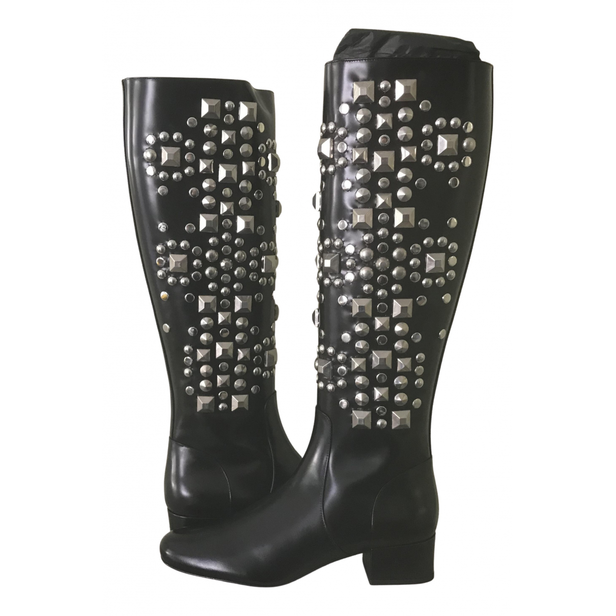 Saint Laurent N Black Leather Boots for Women 38.5 EU