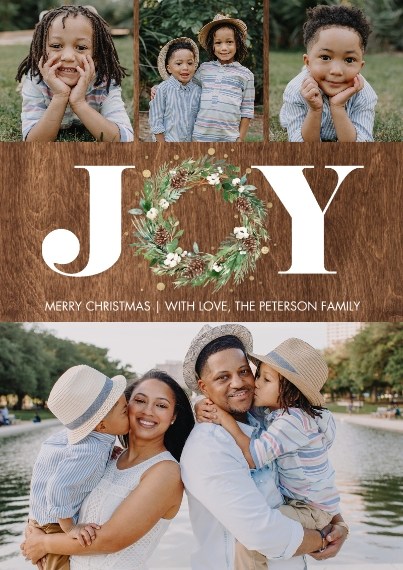Christmas Photo Cards 5x7 Cards, Standard Cardstock 85lb, Card & Stationery -Christmas Joy Wreath Gold by Tumbalina