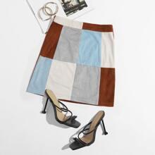Zipper Detail Colorblock Suede Skirt