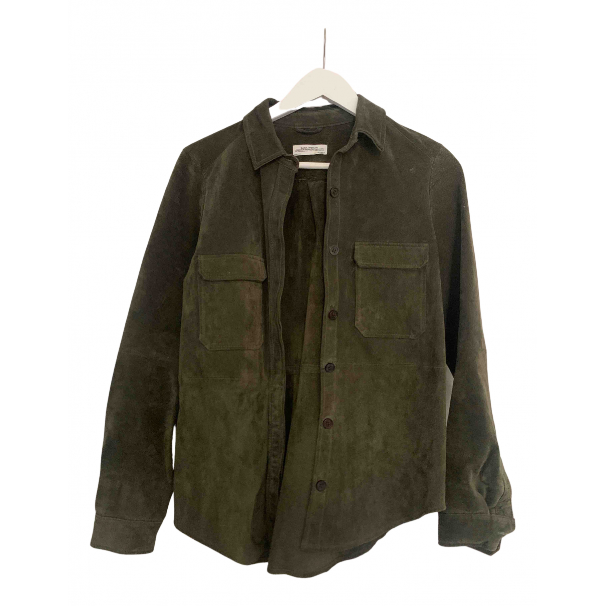 Zara N Green Leather jacket for Women M International