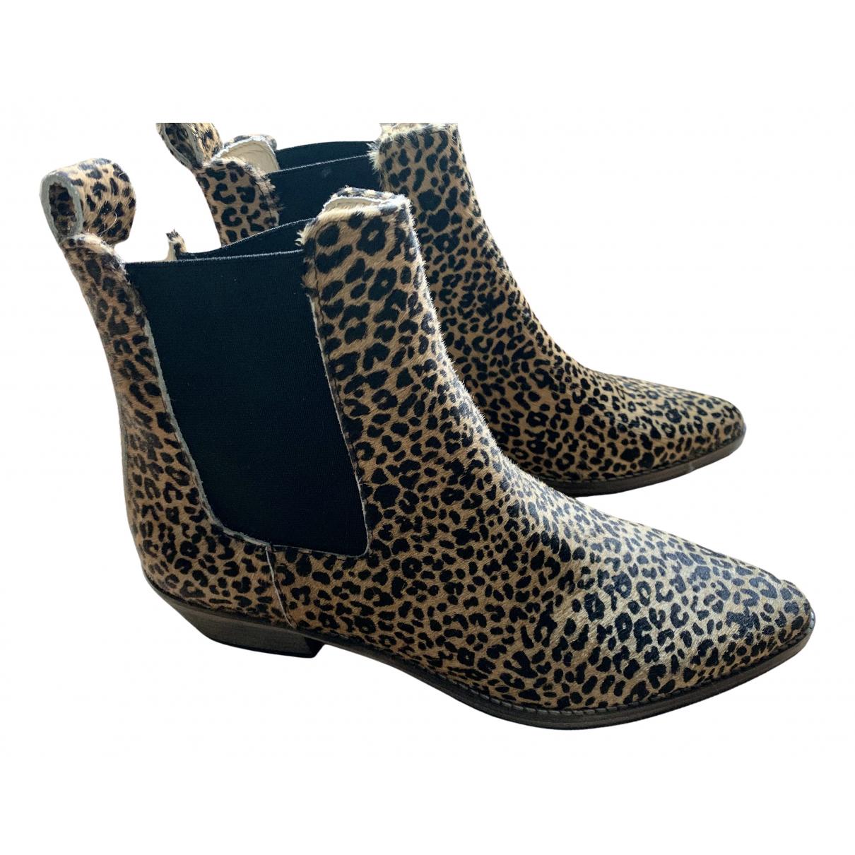 - Boots   pour femme en cuir - marron