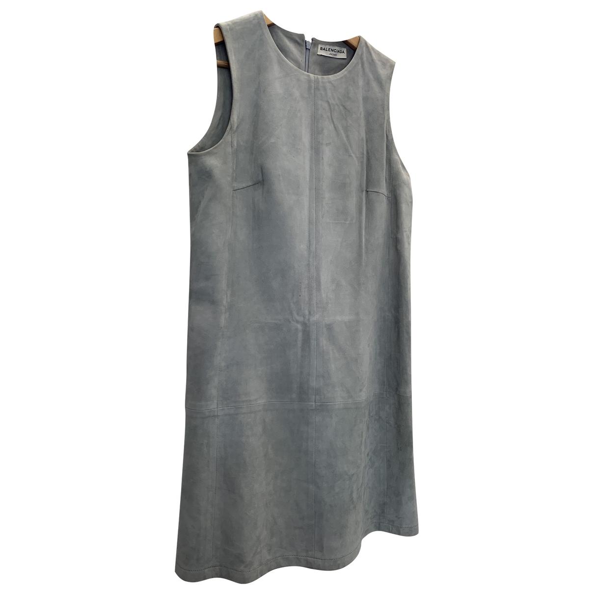 Balenciaga \N Kleid in  Blau Leder