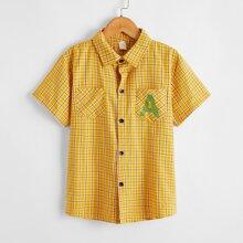 Boys Letter & Plaid Print Shirt