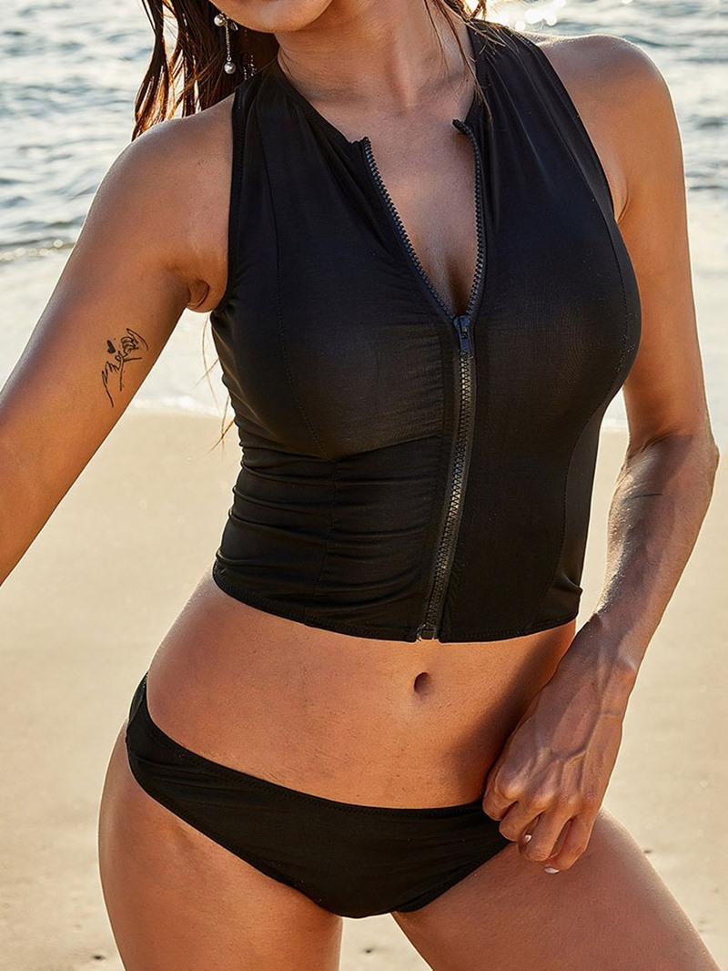 Ericdress Tankini Set Zipper Plain Swimwear