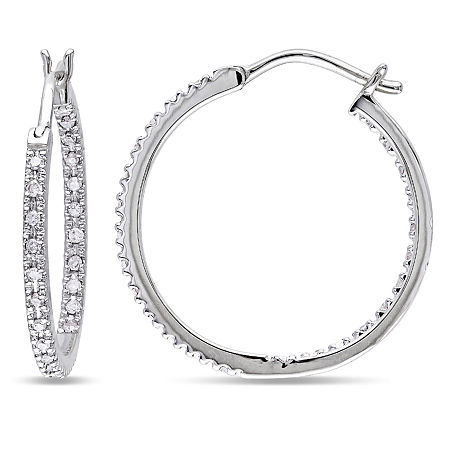 1/4 CT. T.W. Genuine White Diamond 10K Gold 20mm Hoop Earrings, One Size , No Color Family