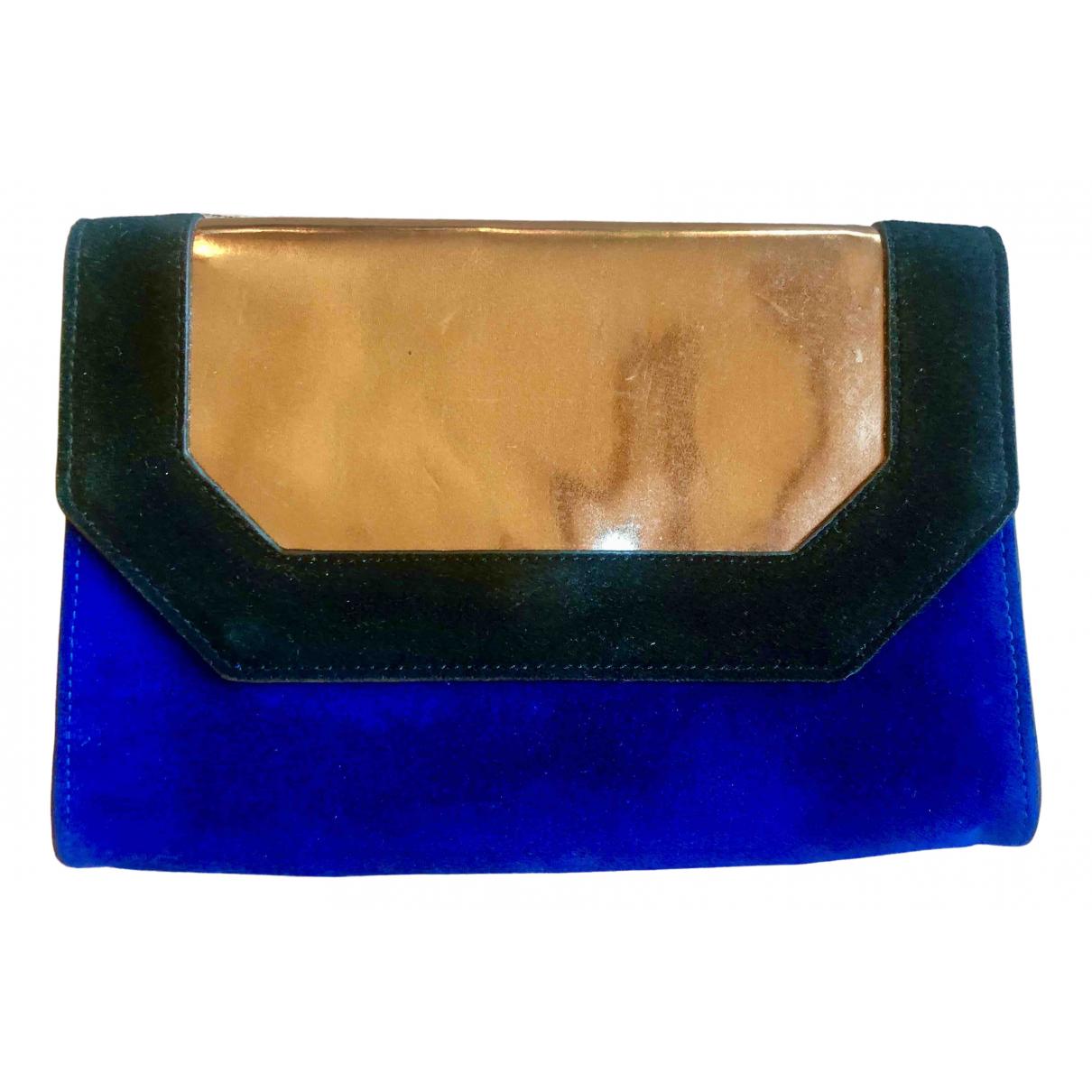 Bcbg Max Azria \N Clutch in  Blau Leder