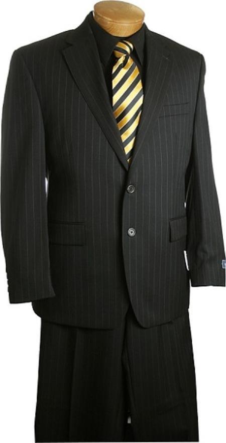 2 Button Black Pin Stripe Suit Mens