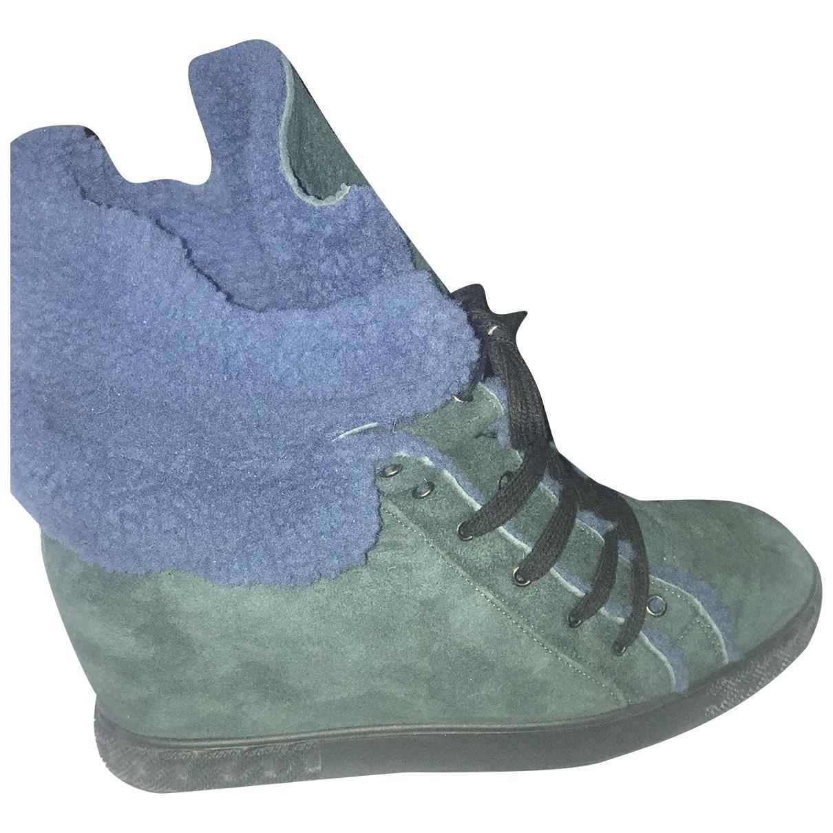 Casadei - Baskets   pour femme en suede - vert