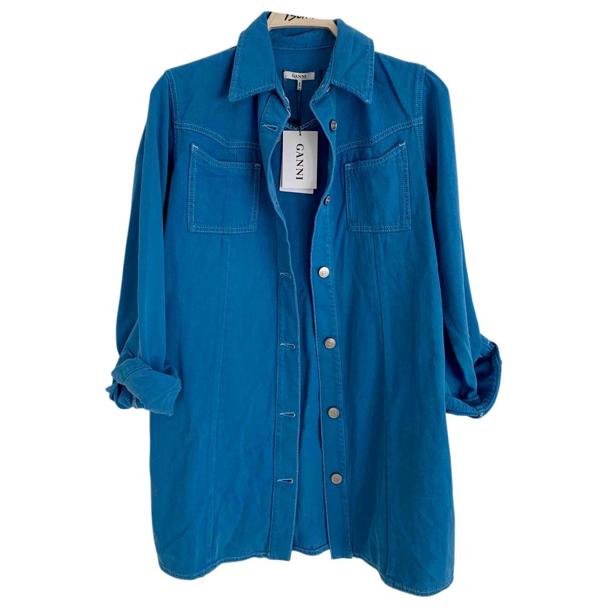Ganni \N Kleid in  Blau Baumwolle