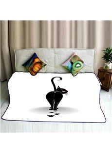 Cartoon Black Cat Looking Back Pattern Flannel Bed Blankets