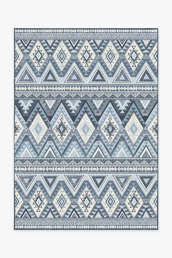 Washable Rug Cover & Pad   Pueblo Blue Rug   Stain-Resistant   Ruggable   5'x7'