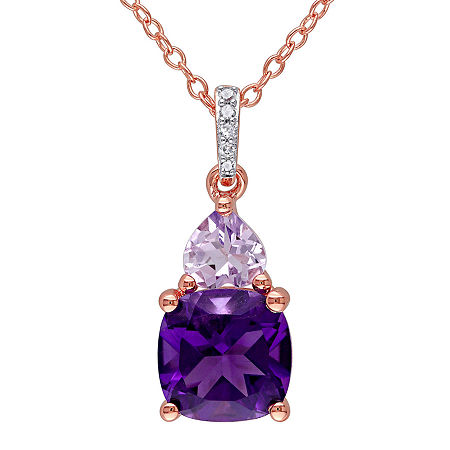 Genuine Amethyst, Rose de France and Diamond-Accent Rose Gold Over Silver Pendant Necklace, One Size , No Color Family
